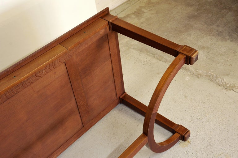 Neoclassical Mahogany and Leather Desk in the Style of André Arbus, France 1940s For Sale 9