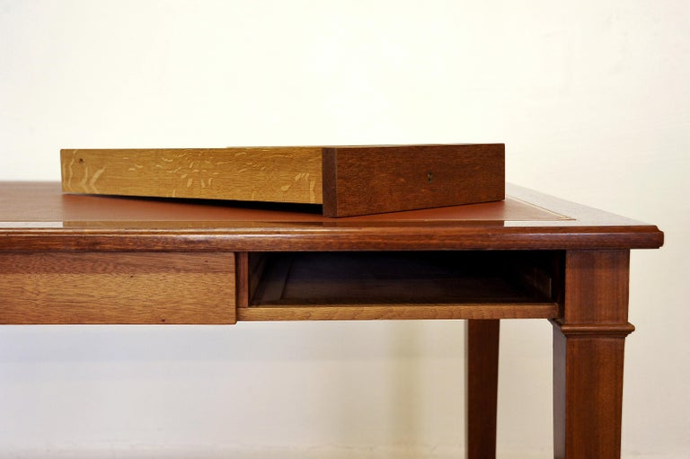 Neoclassical Mahogany and Leather Desk in the Style of André Arbus, France 1940s For Sale 11