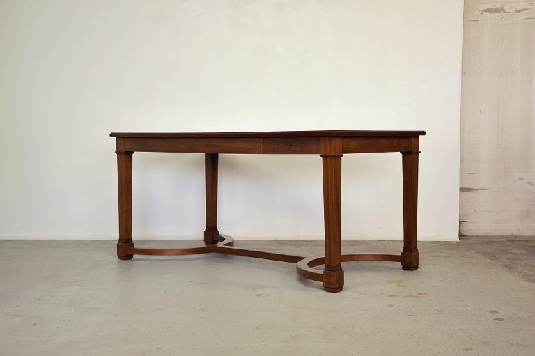 Neoclassical desk in solid mahogany and leather top, solid oak. Made in France in the 1940s. In the style of André Arbus and Jacques Adnet. Very good quality.   Prestigious provenance. Ask us for details.