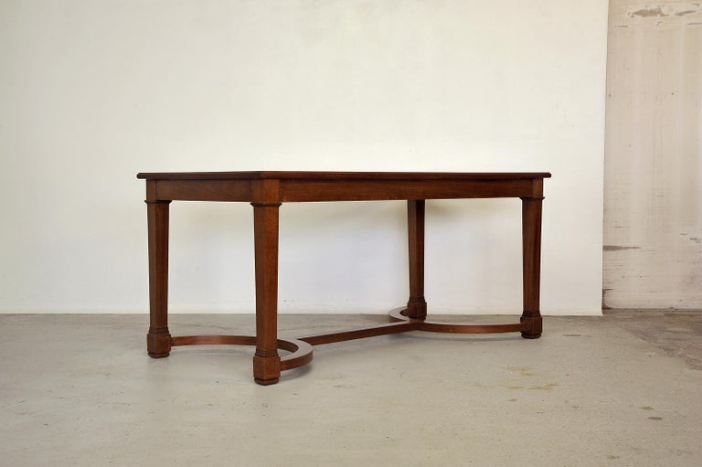Neoclassical Revival Neoclassical Mahogany and Leather Desk in the Style of André Arbus, France 1940s For Sale