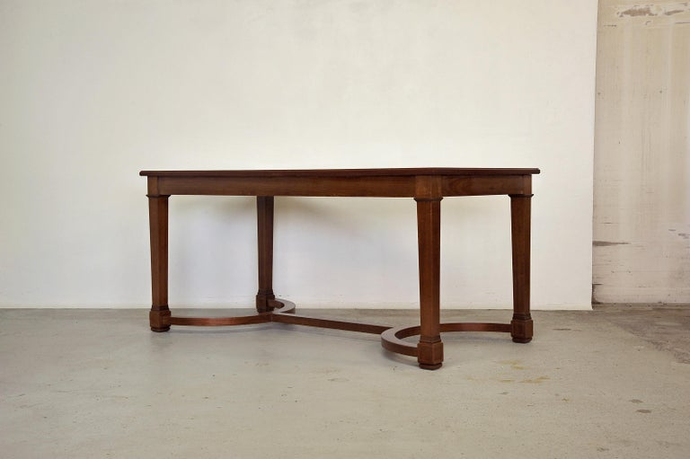 Neoclassical Mahogany and Leather Desk in the Style of André Arbus, France 1940s In Good Condition For Sale In La Teste De Buch, FR