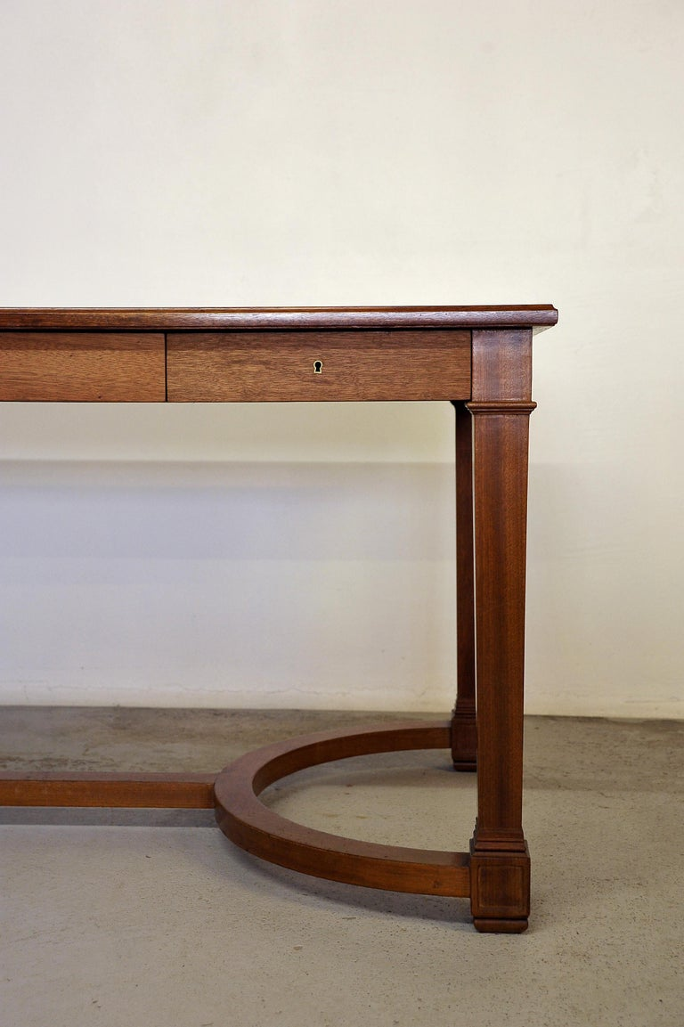 Neoclassical Mahogany and Leather Desk in the Style of André Arbus, France 1940s For Sale 1