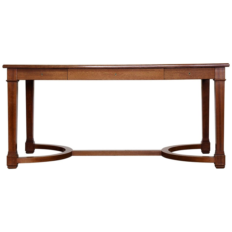 Neoclassical Mahogany and Leather Desk in the Style of André Arbus, France 1940s For Sale