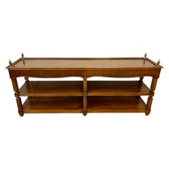 Neoclassical Mahogany Console Table Sofa Table with Shelves