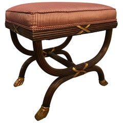 Neoclassical Mahogany Fruitwood X-Base Ottoman Bench by William Switzer