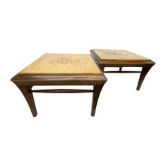 Neoclassical Mahogany & Goatskin Side Tables Hand Painted
