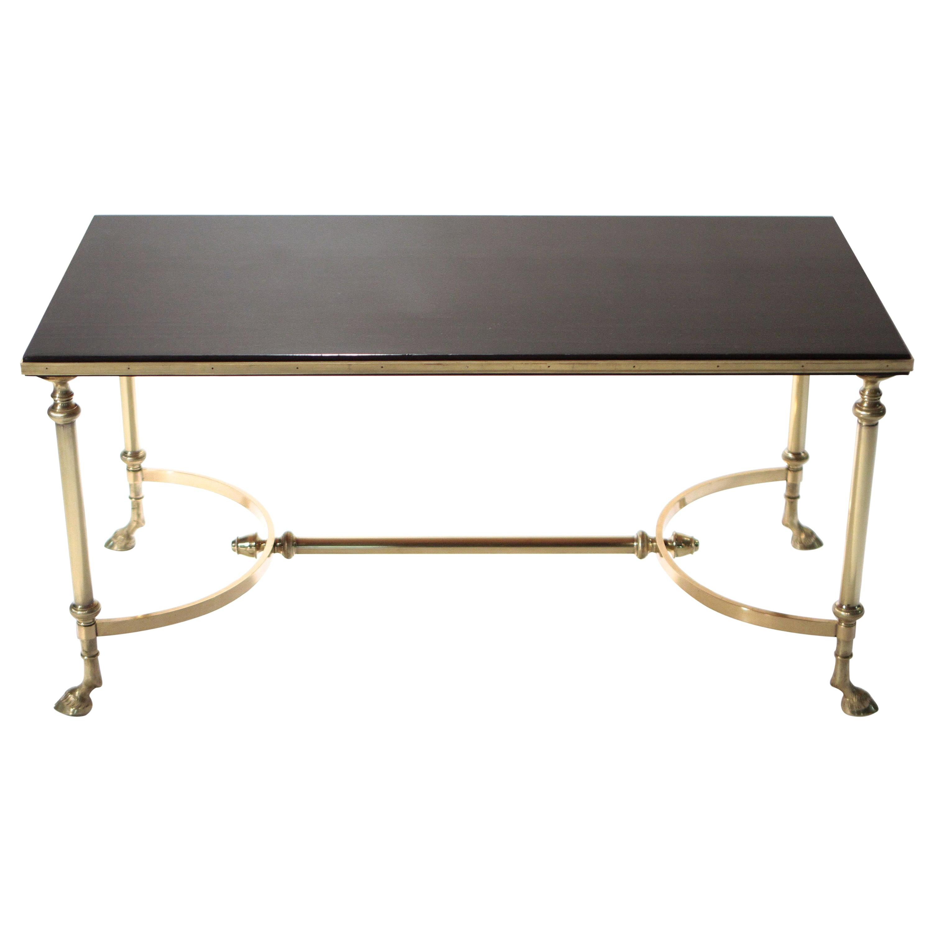 Neoclassical Maison Charles Brass and Lacquer Coffee Table, 1960s