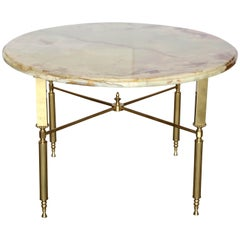 Neoclassical Maison Jansen Orange & Cream Onyx and Brass Side or Cocktail Table