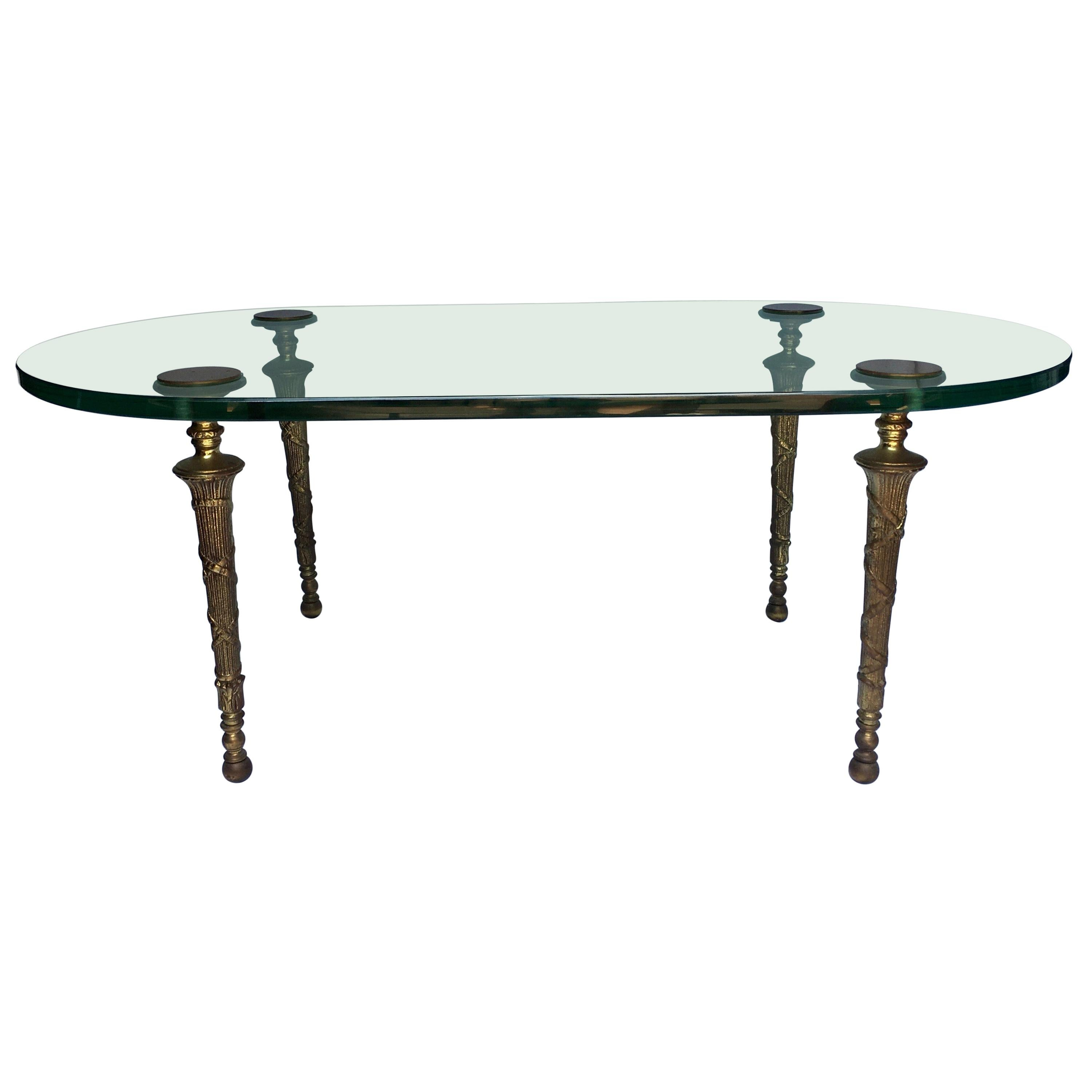 Neoclassical Maison Jansen Style Oval Glass and Brass Cocktail Table, France