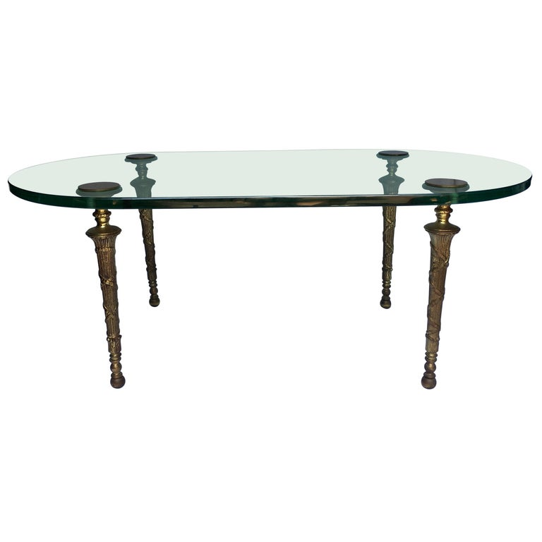 Neoclassical Maison Jansen Style Oval Glass and Brass Cocktail Table, France For Sale