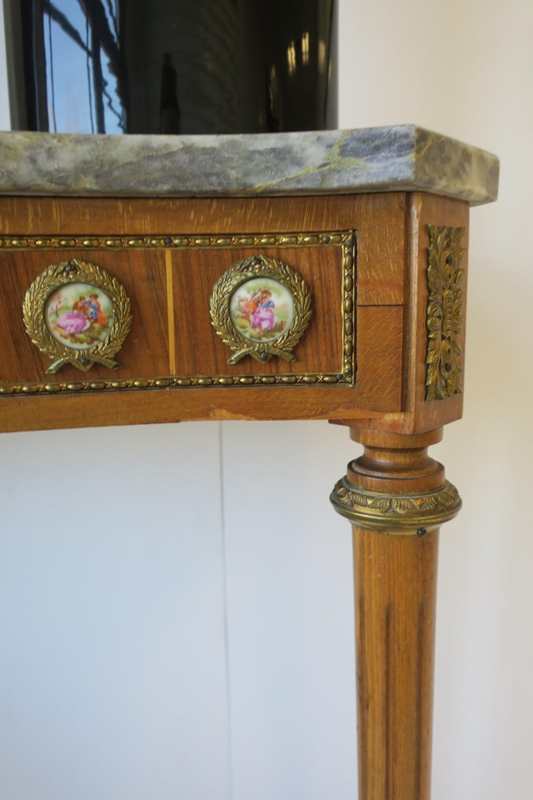 Neoclassical Marble and Brass Console Table For Sale 12