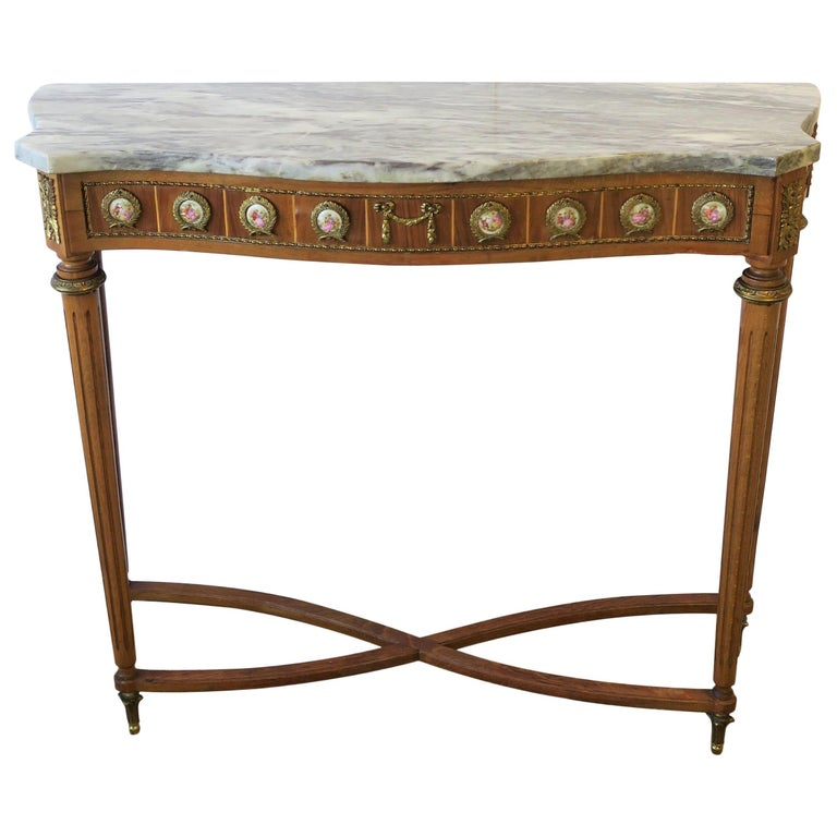 Neoclassical Marble and Brass Console Table For Sale