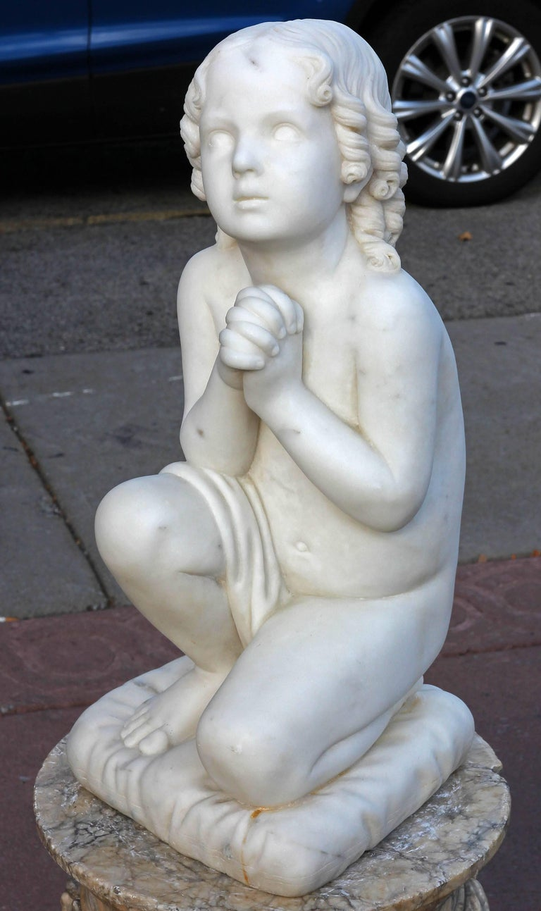 Antique neoclassical marble sculpture of a young Samuel kneeling. Finely carved. circa mid-19th century.