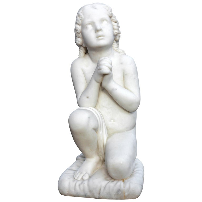 """Neoclassical Marble Sculpture """"Little Samuel"""" For Sale"""