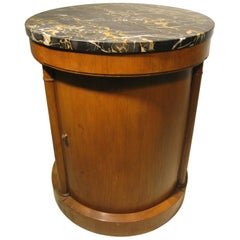 Neoclassical Marble Top Round Side Table Bar Cabinet Baker Furniture