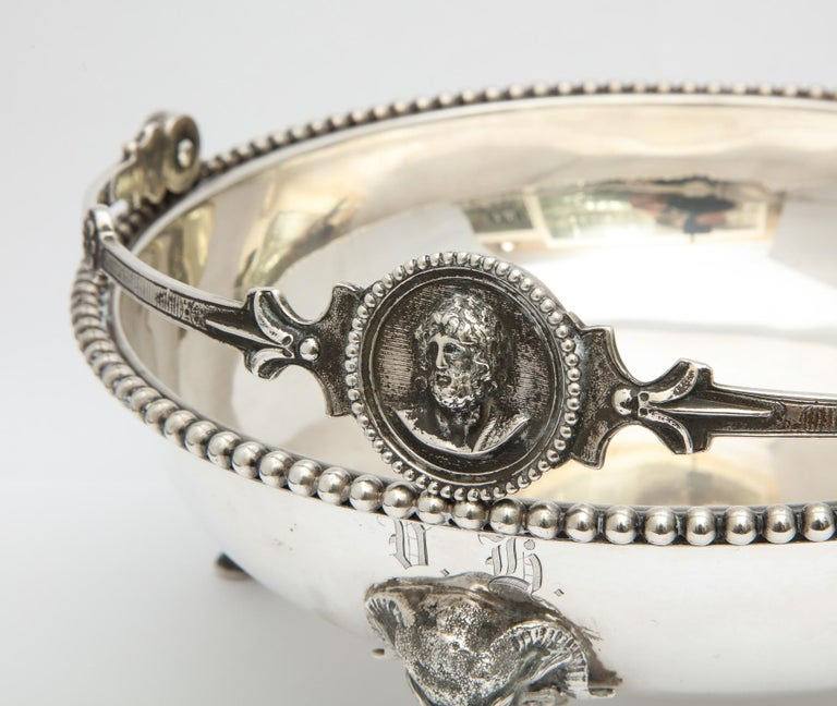 Neoclassical Medallion Sterling Silver Footed Basket, Ball, Black and Co. For Sale 12