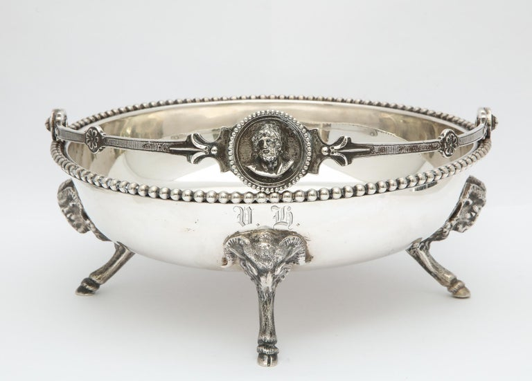 American Neoclassical Medallion Sterling Silver Footed Basket, Ball, Black and Co. For Sale