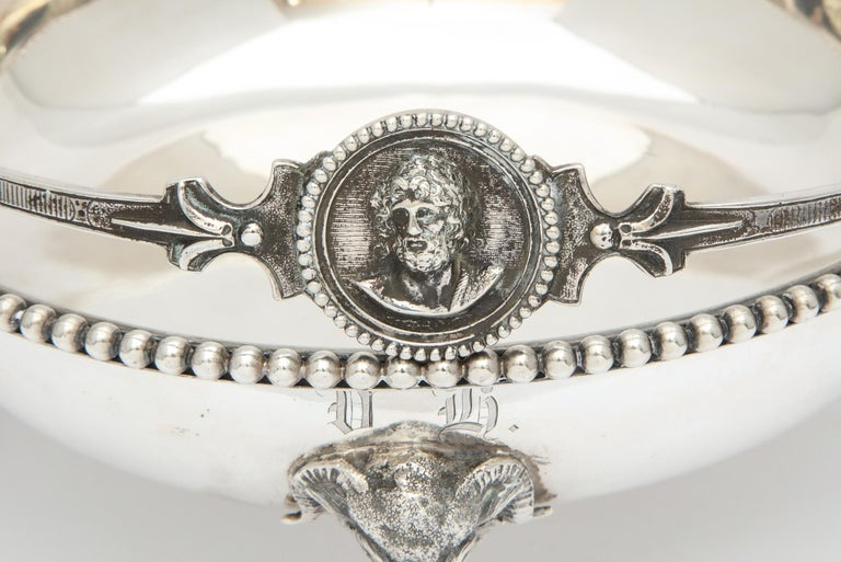 Late 19th Century Neoclassical Medallion Sterling Silver Footed Basket, Ball, Black and Co. For Sale