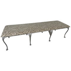 Neoclassical Metal and Upholstered Bench