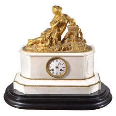 Neoclassical Mid-19th Century Eight Day Clock Striking on the Hour & Half Hour