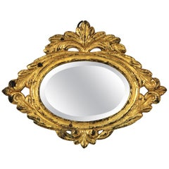 Neoclassical Mini Sized Bronze Mirror with Beveled Glass