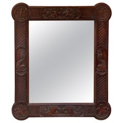 Neoclassical Mirror in Oak circa 1940/1950 Decorated with Mermaids, Newts