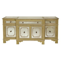 Neoclassical Mirrored, Green and Silvered Side Cabinet