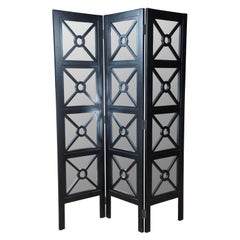 Neoclassical Modern 3 Panel Mirrored Folding Room Divider Privacy Screen