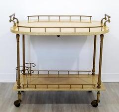 Neoclassical Modern Aldo Tura Lacquered Goatskin 2-Tier Bar Cart, Italy, 1960s