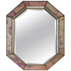 Neoclassical Multi-Faceted Octogonal Mirror Made of Faux-Antique Mirror, Mirrors