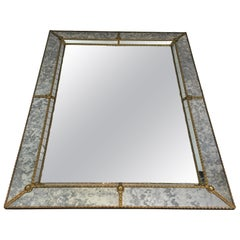 Neoclassical Multifaceted Mirror Made of Faux-Antique Mirror