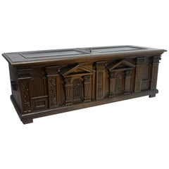 Neoclassical Oak Dowry Coffer with Architectural Detail, English 19th Century