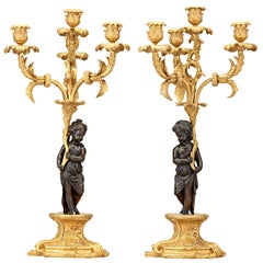 Neoclassical Ormolu Bronze Candelabra with Putti