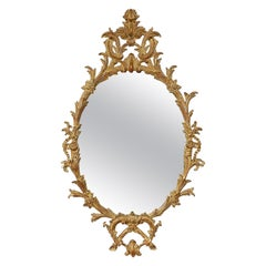 Neoclassical Oval Gold Foil Hand Carved Wooden Mirror, 1970