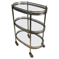 Neoclassical Oval Small Silver Plated on Brass Drinks Trolley, French