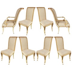 Neoclassical Painted and Parcel Gilt Dining Chairs with Bronze Mounts, Set of 8