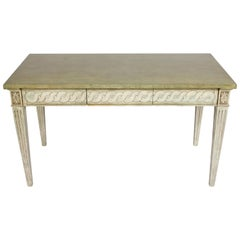 Neoclassical Painted Green and Gray Desk
