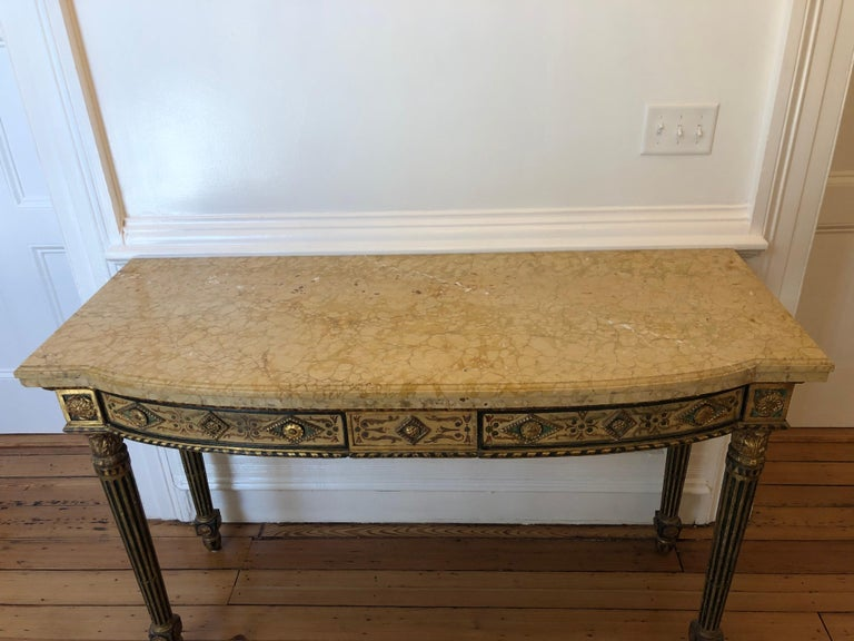 Neoclassical Painted Italian Marble Top  Console, 18th Century For Sale 7