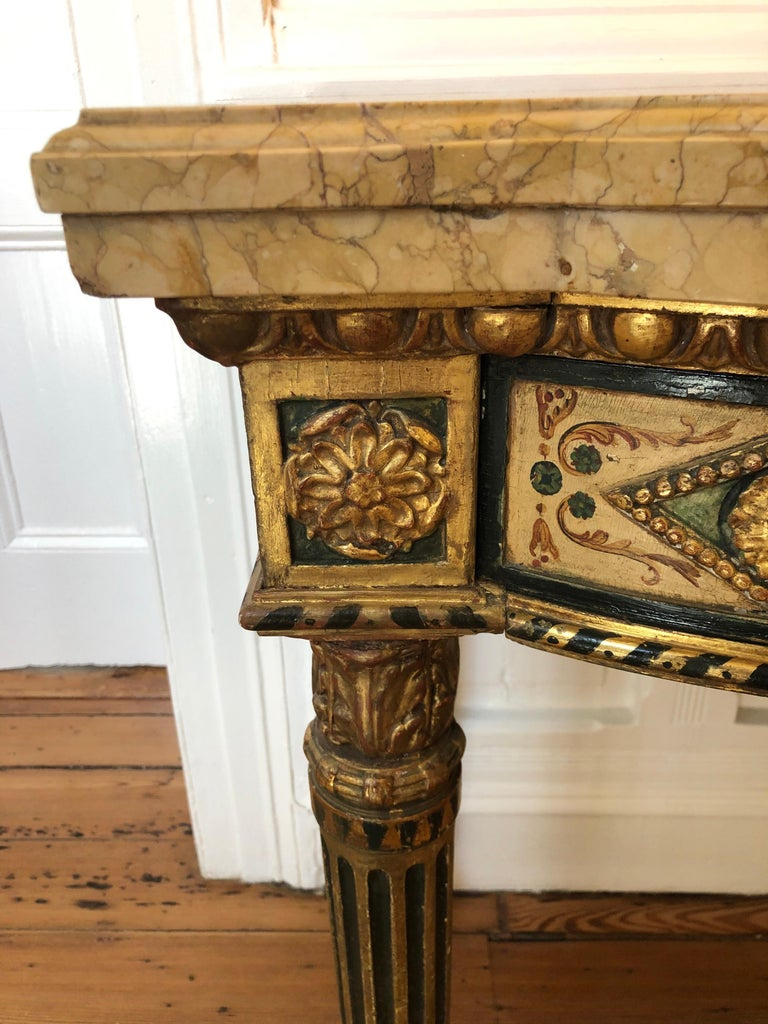 Neoclassical Painted Italian Marble Top  Console, 18th Century For Sale 8