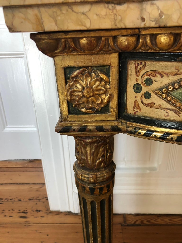Neoclassical Painted Italian Marble Top  Console, 18th Century For Sale 9