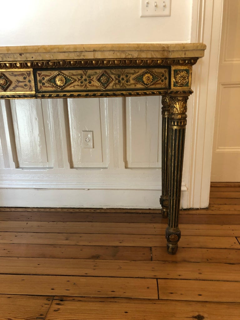 Wood Neoclassical Painted Italian Marble Top  Console, 18th Century For Sale