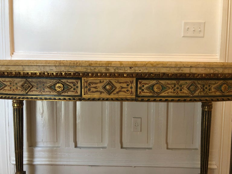 Neoclassical Painted Italian Marble Top  Console, 18th Century For Sale 1