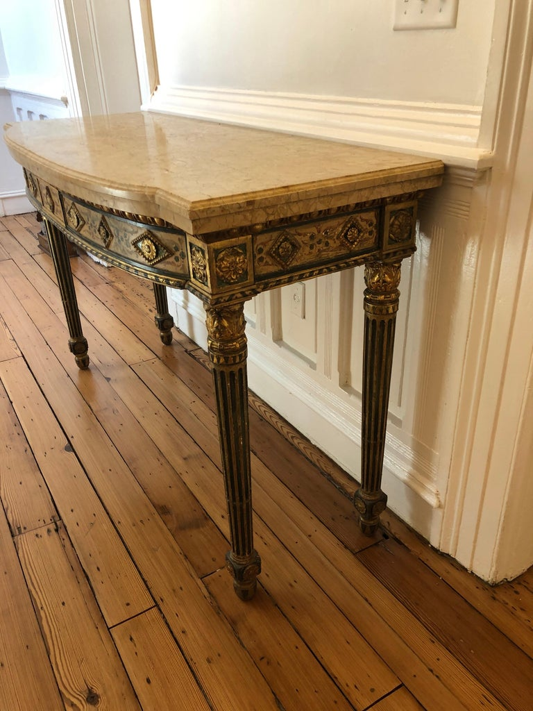 Neoclassical Painted Italian Marble Top  Console, 18th Century For Sale 2