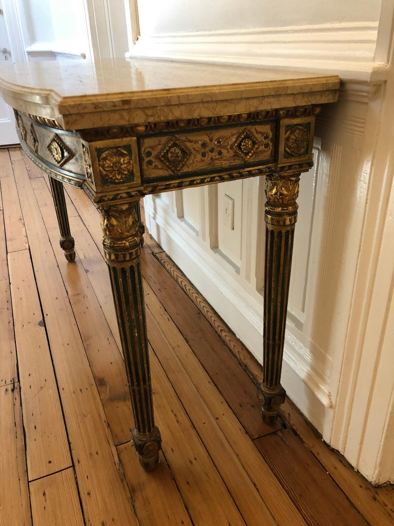 Neoclassical Painted Italian Marble Top  Console, 18th Century For Sale 3