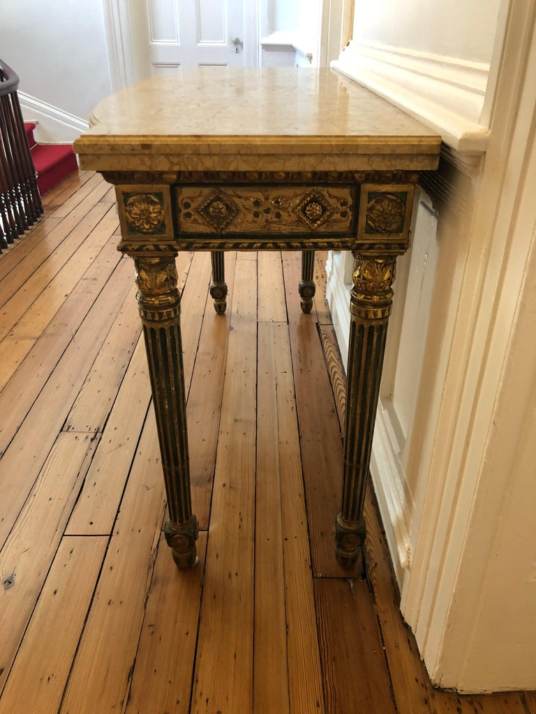 Neoclassical Painted Italian Marble Top  Console, 18th Century For Sale 4