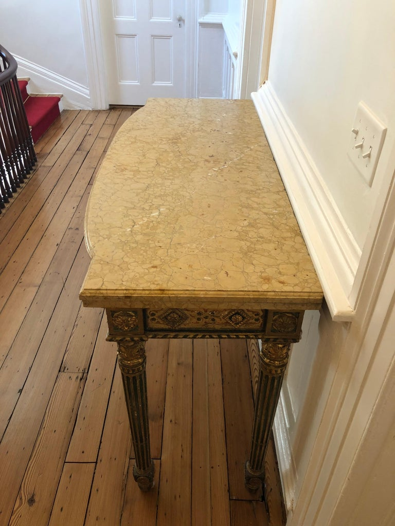 Neoclassical Painted Italian Marble Top  Console, 18th Century For Sale 6