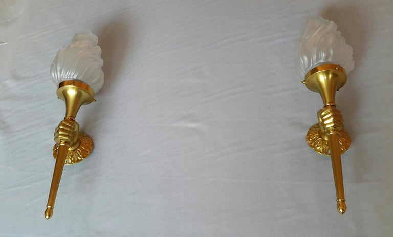 French Neoclassical Pair of Big Gilt Bronze Sconces by Maison Bagues, France, 1960s For Sale