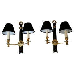 Neoclassical Pair of Bronze Sconces by Andre Arbus, France, 1950