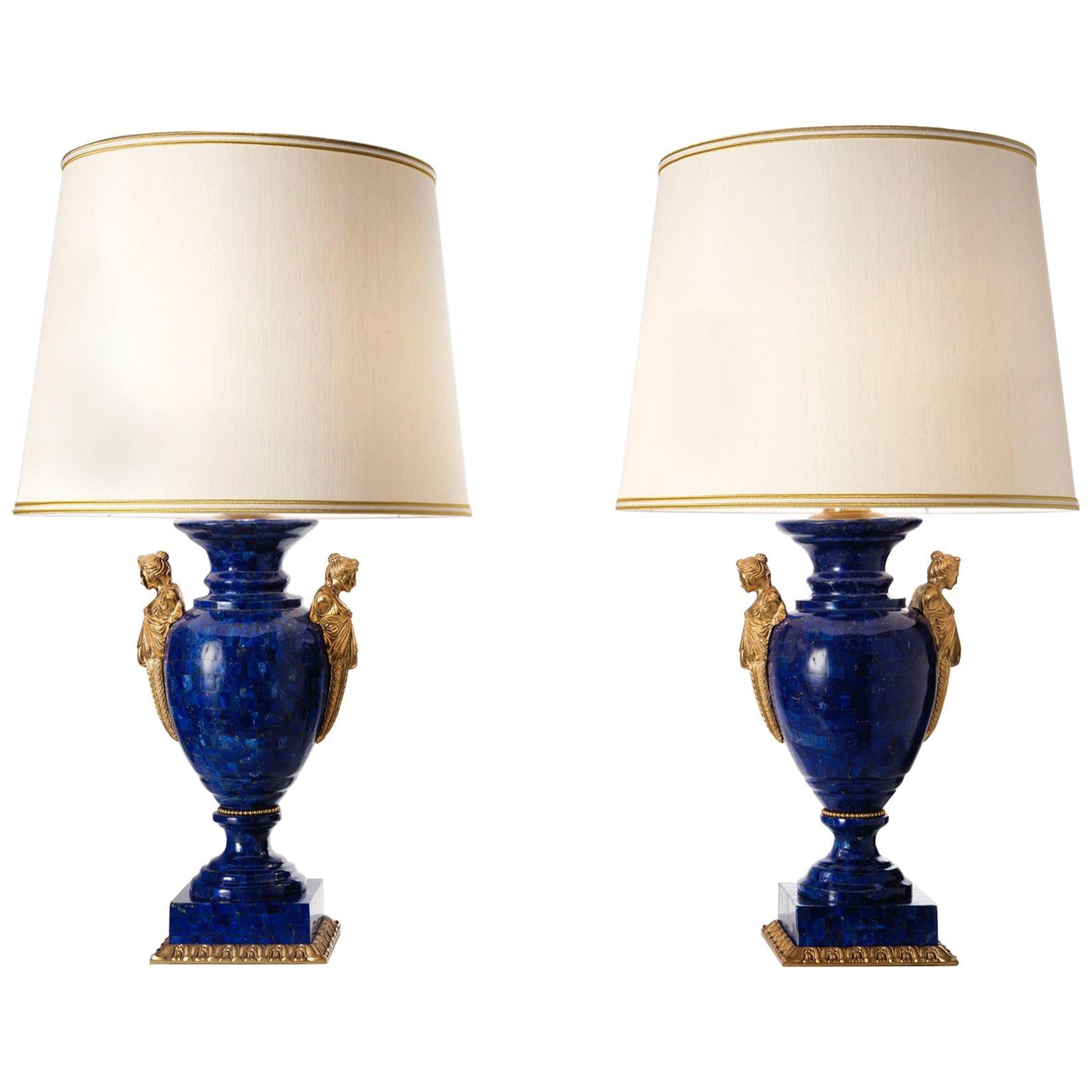 Neoclassical Style LapisLazuli and Bronze Vase Lamps by Gherardo Degli Albizzi