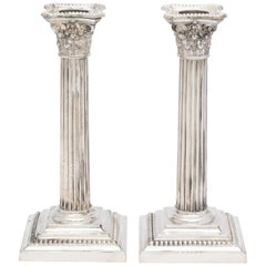 Neoclassical Pair of Sterling Silver Corinthian Column Candlesticks by Gorham